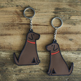 PVC Double-Sided Mischievous Mutts Key Ring - Chocolate Lab