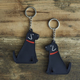 PVC Double-Sided Mischievous Mutts Key Ring - Black Lab