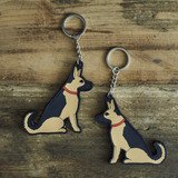 PVC Double-Sided Mischievous Mutts Key Ring - German Shepherd