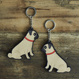 PVC Double-Sided Mischievous Mutts Key Ring - Pug