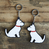 PVC Double-Sided Mischievous Mutts Key Ring - Westie