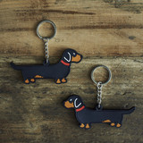 PVC Double-Sided Mischievous Mutts Key Ring - Dachshund