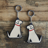 PVC Double-Sided Mischievous Mutts Key Ring - Yellow Lab