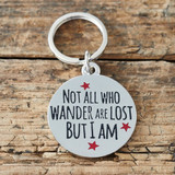 Sweet William silver plated brass dog tag - Not all who wander