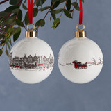 Bone china Santa's Sleigh Christmas bauble from Victoria Eggs.