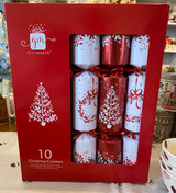 Box of 10 Christmas Crackers with prizes inside.