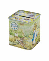 Peter Rabbit Small Square tin money box