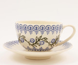 Brixton Pottery Floral Garland handmade pottery breakfast cup and saucer