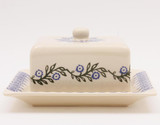Brixton Pottery Floral Garland handmade pottery lidded cheese dish