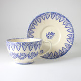 Brixton Pottery Lacey Blue handmade pottery breakfast cup and saucer