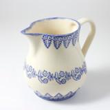 Brixton Pottery Lacey Blue medium pottery jug.