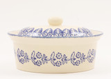 Brixton Pottery Lacey Blue Oval Butter Dish