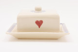Brixton Pottery Hearts handmade pottery lidded cheese dish