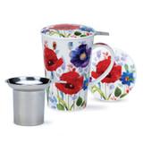 Dunoon fine bone china Wild Garden mug and infuser set in the Glencoe shape. Handmade in England.