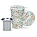 Dunoon fine bone china Aqua mug and infuser set in the Glencoe shape. Handmade in England.