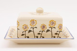 Brixton Pottery Sunflowers handmade pottery lidded cheese dish