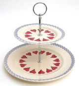 Brixton Pottery Hearts 2-tier cake stand