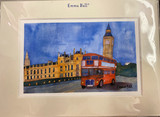 Mounted print of The Houses of Parliament London with a London Bus by Emma Ball.