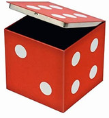 Vintage Tin Dice with hinged lid - Red