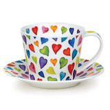 Fine bone china Dunoon Islay Warm Hearts cup and & saucer.