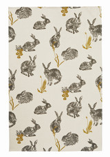 Block Print Rabbit Tea Towel