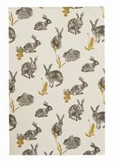 Block Print Rabbit Tea Towel