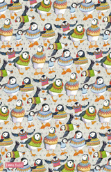 Woolly Puffins 100% Cotton Tea Towel from Emma Ball.