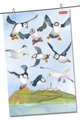 Coastal Puffins 100% Cotton Tea Towel from Emma Ball.
