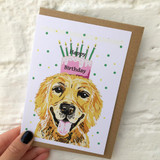 Golden Retriever Happy Birthday Card from Lucky Lobster Art
