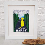 Blonde Beach Dog + Beach = Happy framed print taken from the original lino print artwork from Lucky Lobster Art.