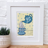 Fill Your Own Cup framed print taken from the original lino print artwork from Lucky Lobster Art.