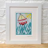 Vitamin Sea framed print taken from the original lino print artwork from Lucky Lobster Art.