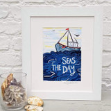 Seas the Day framed print taken from the original lino print artwork from Lucky Lobster Art.