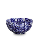 Burleigh Blue Calico Small Footed Bowl. Handmade in England