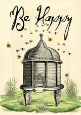 The Bee Hive Blank Greetings Card by Madame Treacle.