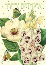 Peony & Foxglove Glitter Birthday Card by Madame Treacle.