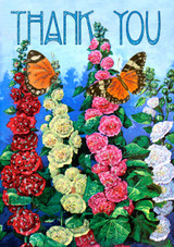 Hollyhocks Glitter Thank You Card by Madame Treacle.