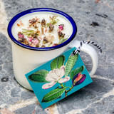 Herb Garden Lemongrass & Basil Enamel Cup Candle by Madame Treacle.