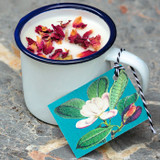 Wild Rose Geranium Enamel Cup Candle by Madame Treacle.