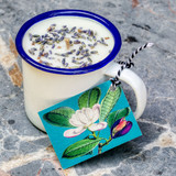 French Lavender Enamel Cup Candle by Madame Treacle.