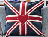 Hand-embroidered Union Jack Square Navy Pillow from British designer Jan Constantine.
