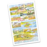 100% Cotton Scottish Castles & Houses by Emma Ball Tea Towel