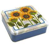 Emma Ball Sunflowers Square Tin