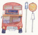 London Bus Framed Print - Limited edition by British Artist Emma Ball