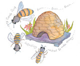 Bees & Hive Framed Print - Limited edition by British Artist Emma Ball