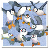 Flying Puffins Greetings Card by Emma Ball.