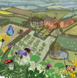 Farmland View Greetings Card by Emma Ball.