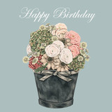 'Happy Birthday Flowers' Birthday Greetings Card by Sally Swannell for Wrendale Designs.