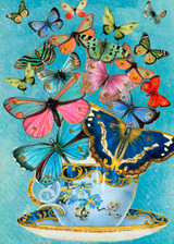Butterfly Parade Glitter Greetings Card by Madame Treacle.