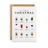 Twelve Coffees of Christmas Card from Everlong Print Co. Made in England